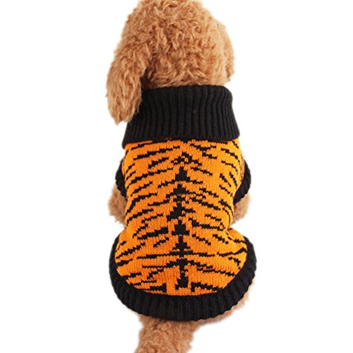 Dog Colonial Costumes (Uniquorn Dog Clothes Autumn And Winter Tiger Skin Pattern Sweater Teddy Poodle Bichon Cute Handsome Cotton)