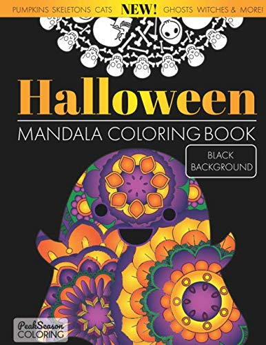 Black Cat Coloring Page For Halloween (Halloween Mandala Coloring Book Black Background: Fun and Spooky Stress Relieving and Relaxing Designs Adults and)