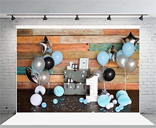 AOFOTO 7x5ft 1st Birthday Backdrop Balloon Paper Flower Decoration Photography Background Baby Boy Kid Infant Artistic Portrait Party Wood Wall Photo Studio Props Video Drop Seamless Vinyl Wallpaper