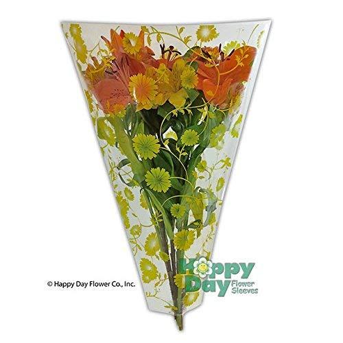 Flower Sleeve Printed''Flowers & Vines''- 4'' x 18'' x 13''- BOPP- Pack of 100 Sleeves (Yellow)