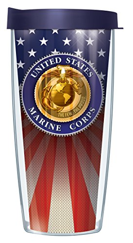 Usmc Us Marine Corps Seal On American Flag 22 Oz Traveler Tumbler Mug With Lid