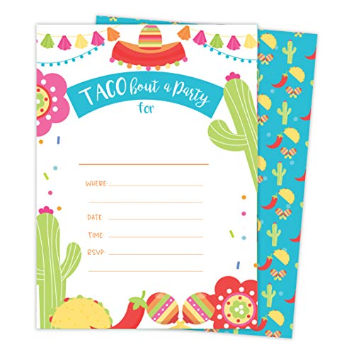 Fiesta 2 Happy Birthday Invitations Invite Cards (25 Count) With Envelopes and Seal Stickers Vinyl Girls Boys Kids Party (25ct)