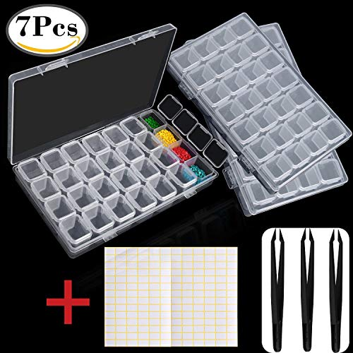 Outee 3 Pack 28 Grids Diamond Embroidery Box 5D Diamond Painting Accessories Storage Box with 3 Pack Tweezers and 168 Pieces Craft Label Marker Sticker by Outee