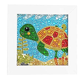 ParNarZar Easy 3D Diamond Painting Kit Turtle for Kids, Beginners Art Crafts Kits for Girls with Frame 6x6inches