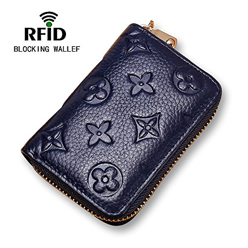 Women RFID Blocking Credit Card Holder Wallet Leather Slim Zipper Purse - Blue by Auner