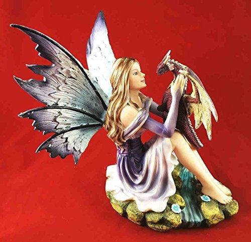 (Gifts & Decor Beautiful Purple Twilight Fairy with Pet Midnight Storm Dragon Figurine Statue)