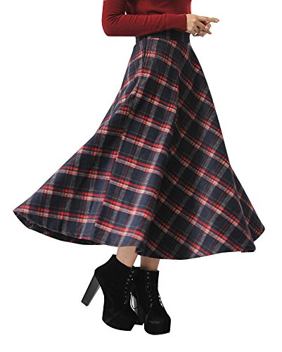 IDEALSANXUN Womens High Waist Woolen Swing Skirt Thicken Winter Warm Plaid Aline Retro Long Skirts