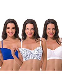 Curve Muse Women's Plus Size Maternity Nursing Cotton Wirefree Bra- 2 or 3 Pack