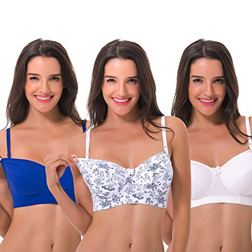 (Curve Muse Women's Plus Size Maternity Nursing Cotton Wirefree Bra- 2 or 3 Pack-Ivory,White W Print,BLUE-36D)