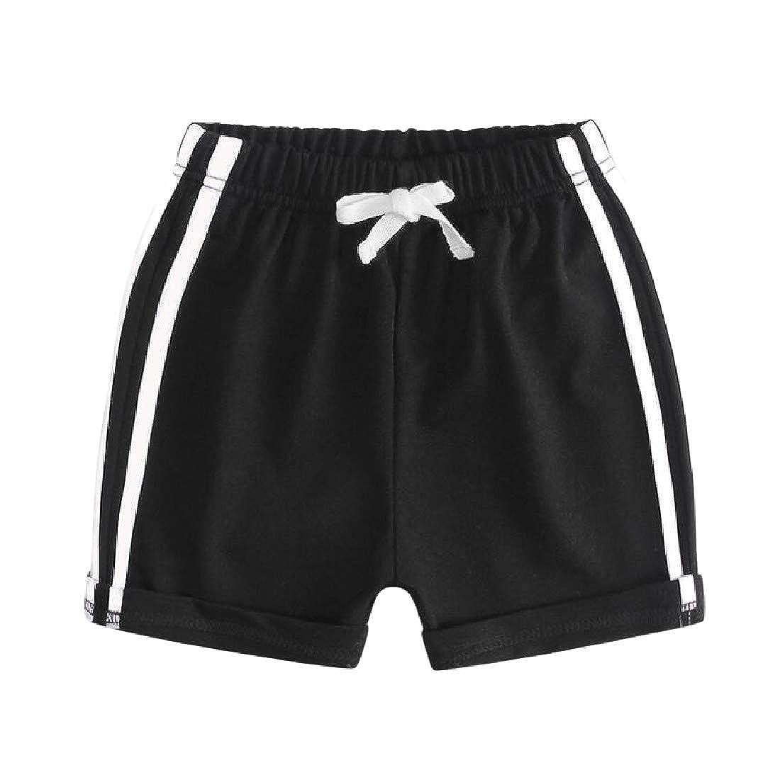 C/&H Boys Girls All-Match Cute Striped Elastic Waist Short