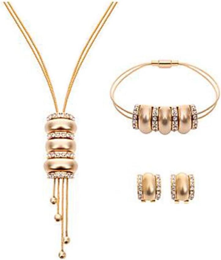 GYJUN Mujeres ronda nupcial de la boda diamantes de imitación colgante collar pendientes pulsera de cuentas