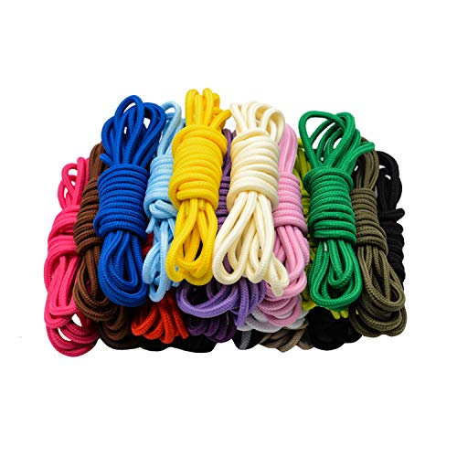 CUGBO 20 Pairs Round Shoelaces Assorted Colored 5mm Width Shoe Laces Strings for Sneakers Boots Skateboard Hiking Athletic Sport Shoes ()
