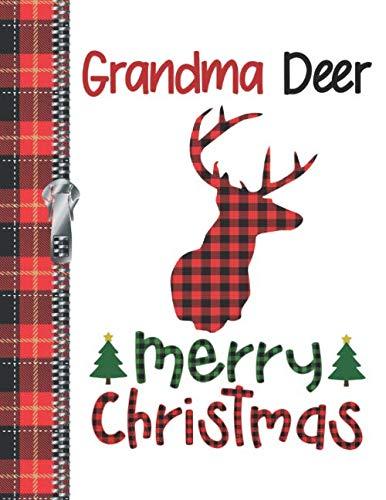Grandma Deer Merry Christmas: Buffalo Red Plaid Silhouette Doodling Writing Journal Diary For Grandmothers
