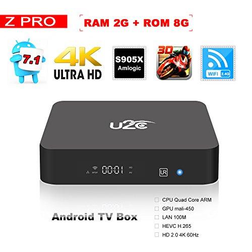 Android 7.1 Smart TV Box Z Pro Amlogic Quad Core 2GB RAM 8GB ROM 4K Ultra HD 2.4G Wifi Streaming Media Player(2017Update)