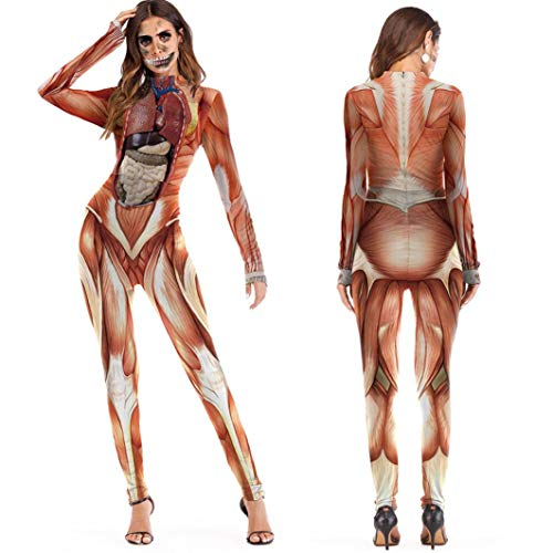 XILALU Novelty Halloween Jumpsuit Womens, Scary 3D Skull Skeleton Viscera Blood Print Party Costume Performance -