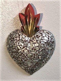 - Wood milagros charms heart Mexican Folk Art