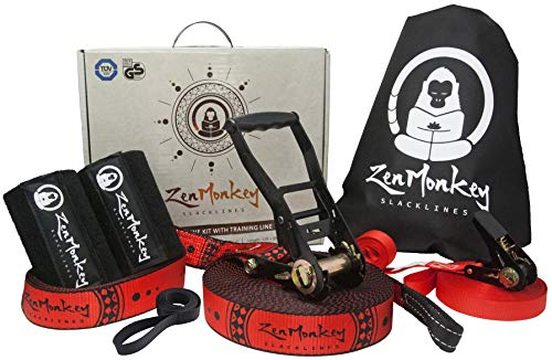 ZenMonkey Slacklines Kit with Training Line, Tree Protectors, Cloth Carry Bag and Instructions, 60 Foot - Easy Setup for The Family, Kids and Adults
