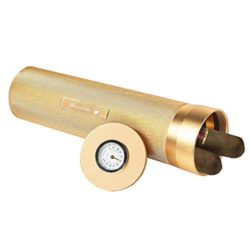 Monsiter Portable Cigar Tube Humidor with Humidifier Portable Travel Case for 3-5 Cigars-Gold