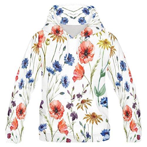 Price comparison product image InterestPrint Custom Watercolor Poppy Flower Pattern Teenager's Pullover Hoodies Sweatshirt XS