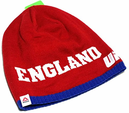 UFC Reebok Toque Knit UnCuffed England Red White Blue Beanie Skull Hoody Hat Cap (Flex Fit Striped Hat)