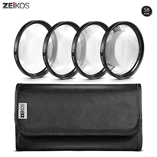 Zeikos 58MM Macro Close-Up Filter Set (+1 +2 +4 +10) with High-Quality Pouch and Microfiber Cloth for Canon Digital SLR Camera with (18-55mm, 75-300mm, 50mm 1.4, 55-200) Canon Lenses
