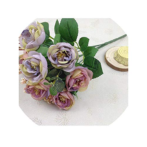 Silk Rose Peony Artificial Flowers Beautiful Bouquet for Wedding Party Home Decoration Mariage Fake Flowers,Purple -
