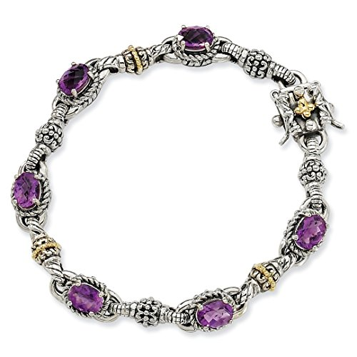 ICE CARATS 925 Sterling Silver 14k Purple Amethyst Bracelet 7.25 Inch Gemstone Fine Jewelry Ideal Mothers Day Gifts For Mom Women Gift Set From Heart by ICE CARATS