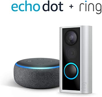 Ring Peephole Wireless Doorbell Camera + Echo Dot (3rd Gen)