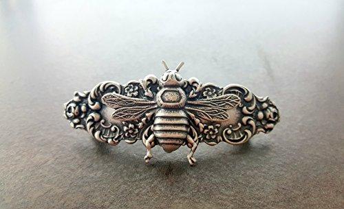 Handmade Steampunk Silver Bee Hair Clip Barrette