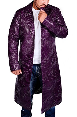 Abbraci The Joker Costume For Cosplay Halloween Party Suicide Squad Jared Leto Trench Coat (Medium)