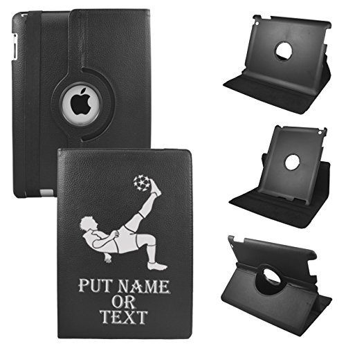 IPad Mini Soccer CUSTOM TEXT Leather Rotating Case 360 Degrees Multi-angle Vertical and Horizontal Stand with Strap (Black)