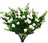 artificial flowers for outdoors - Beebel Artificial Flower Greenery Plants for Home Kitchen Dining Room Hanging Planter Garden,4 Bundles/White