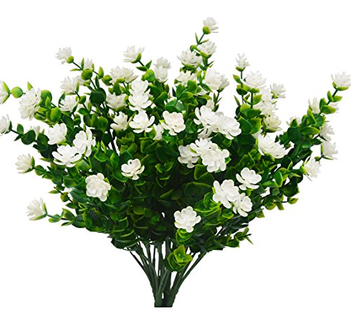 Beebel Artificial Flower Greenery Plants for Home Kitchen Dining Room Hanging Planter Garden,4 Bundles/White ()