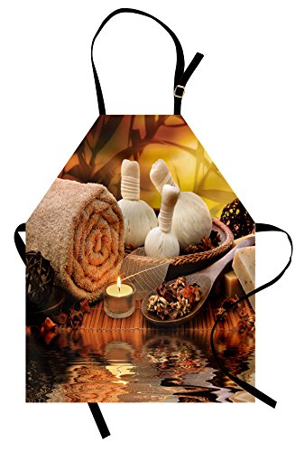 Lunarable Spa Apron, Outdoor Spa Massage Setting at Sunset with Candlelight Reflections Culture Theme, Unisex Kitchen Bib Apron with Adjustable Neck for Cooking Baking Gardening, Orange Mustard by Lunarable (Image #3)