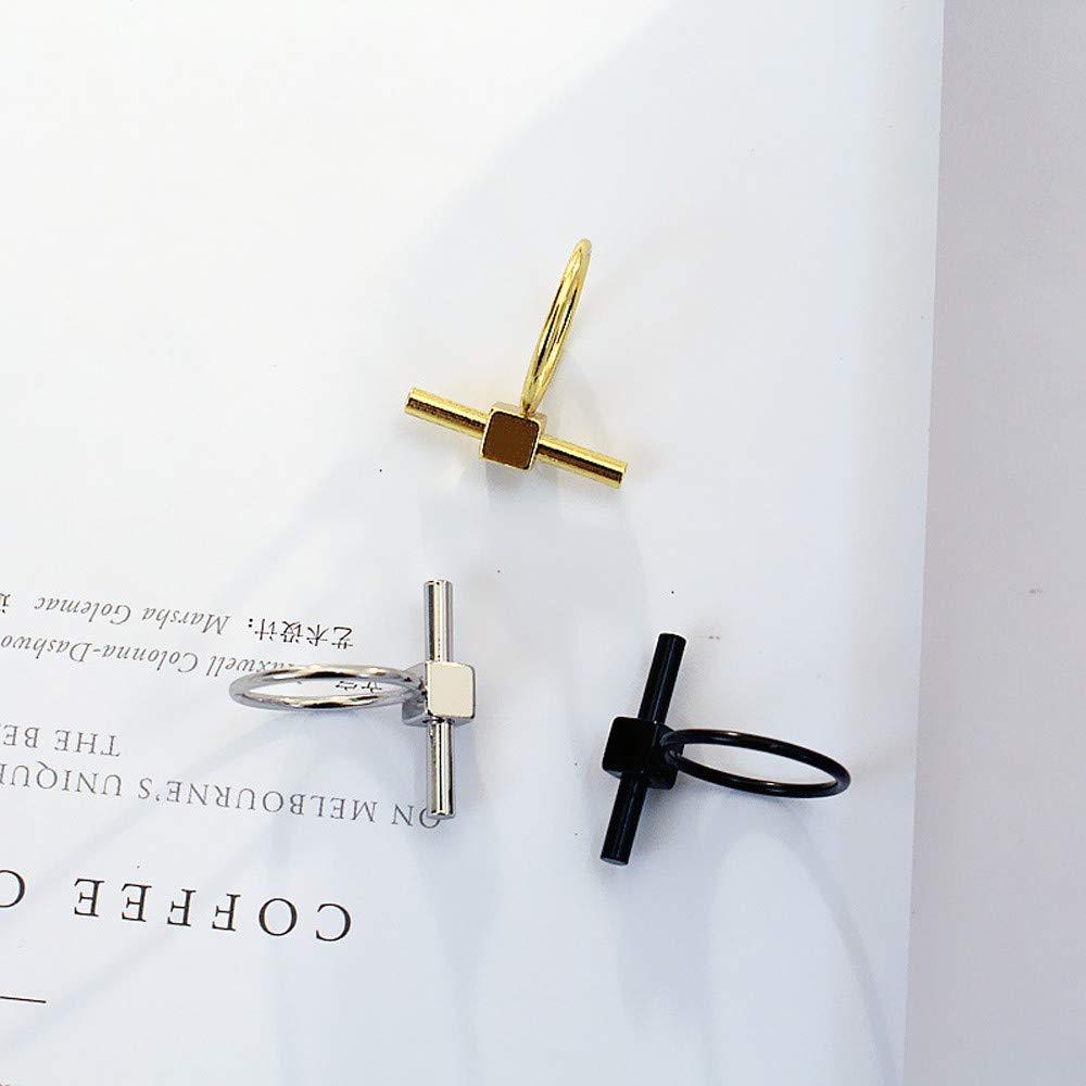 Simple Horizontal Bar Pendant Ring,Metal Ring for Women Girls Fashion Jewelry