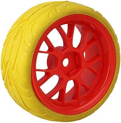 MxfansレッドYシェイププラスチックホイールリム+イエロー魚スケールパターンラバータイヤfor RC 1: 10On Road Car Set of 4