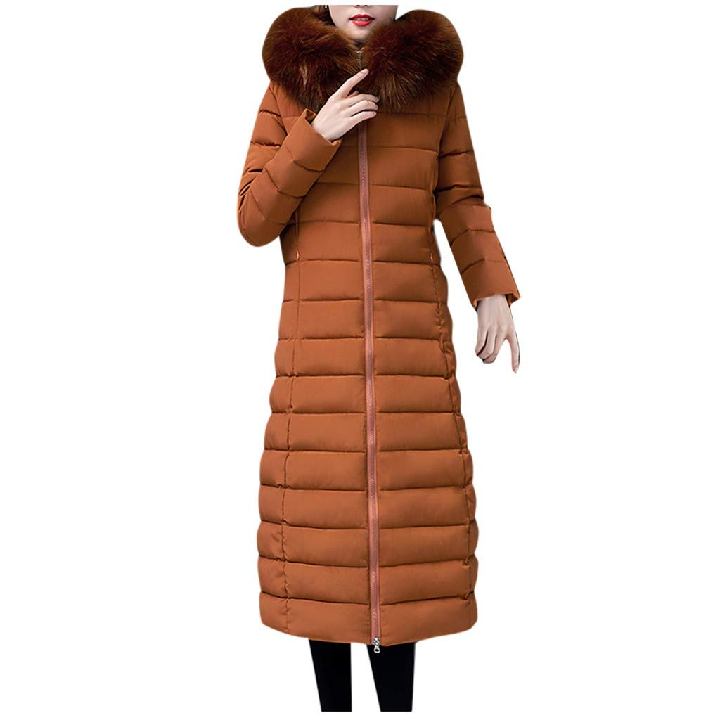 Women Winter Parka Jackets,Jchen Ladies Windproof Thicken Keep Warm Outerwear Zipper Jacket Faux Fur Hooded Parka Coats Brown by Jchen_Women Coat