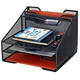 Bonsaii Metal Mesh Desktop Letter & File Organizer Tray with 3 Tray and 2 Vertical Sections, Black (W6488)