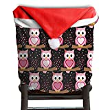 Owl Animal Christmas Chair Covers Personalized Smooth Santa Hat Chair Covers For Adult Dinner Chair Covers Holiday Festive
