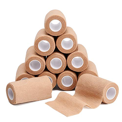 TOBWOLF Cohesive Bandage Wrap, Medical Tape, Elastic Self Adherent Wraps Gauze Roll, First Aid Supplies for Sports, Wrist, Ankle, 4