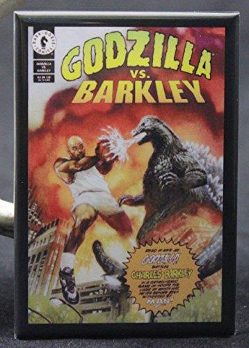 Godzilla Vs. Charles Barkley Refrigerator Magnet. (Godzilla Magnet)