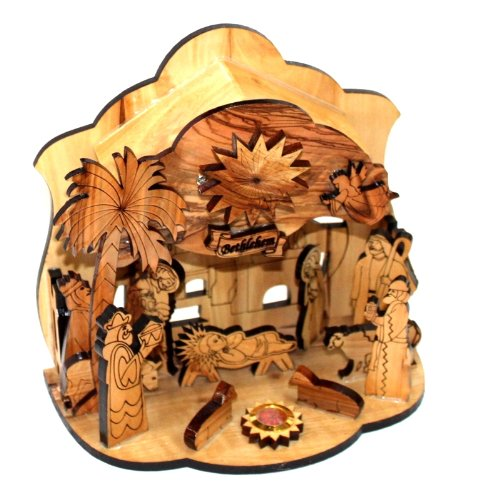 Olive Wood Silent Night Nativity (Medium ( 6.5 Inches )) by Holy Land Market