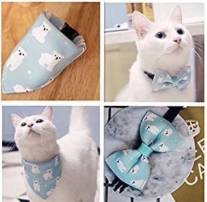 HOPAS Pet Bandana Scarf and Collar Beautiful Gift for Dogs and CatsWashable and Adjustable Dog/Cat Scarf Bow Ties (M)