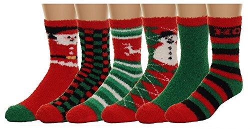 Gilbin's Mens Fuzzy and Soft Christmas Holiday Socks, Anti Slip Socks Sole, 6 Pack, Size 10-13 (Socks Christmas Mens For)