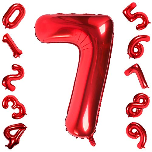 Number 7 Balloon (Red Number 7 Balloons,40 Inch Birthday Number Balloon Decorations Supplies Helium Foil Mylar Digital)