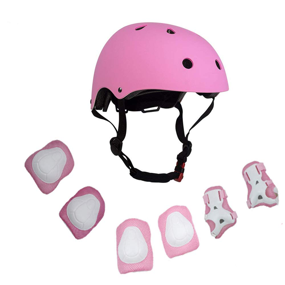 Warm House Kids Toddler Protective Gear and Helmet Sets,3 to 8 Years Old Kids Helmet and Pads Set Knee Pads,Wrist Pads and Elbow Pads for Skateboarding, Skating, Scooter, Cycling