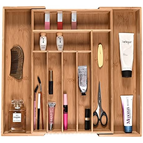 WELLAND Expandable Bamboo Drawer Organizer With Adjustable Dividers 18 X 12 5 X 2 4 Expand To 21 Width 9 Compartment Storage Tray