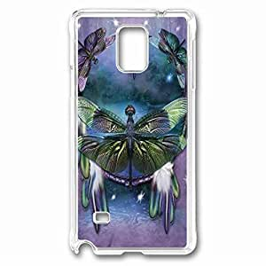 Dragonfly Dreamcatcher Custom Back Phone Case for Samsung Galaxy Note 4 PC Material Transparent -1210428