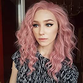 WUJIE Pink Lace Front Wigs for Women Long Wavy Synthetic Hair Replacement Cosplay Curly Wig Costume Party 16 Inch