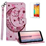 Funyee Magnetic Flip Case for Samsung A6 Plus 2018 [Free Screen Protector],Luxury Moon Embossed Pattern PU Leather Soft Wallet Case [Built-in Credit Card Slots] for Galaxy A6 Plus 2018,Rose Red